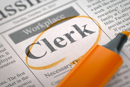 data entry: A Newspaper Column in the Classifieds with the Jobs of Clerk, Circled with a Orange Marker. Blurred Image. Selective focus. Hiring Concept. 3D Illustration. Stock Photo