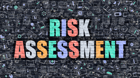 critical: Risk Assessment - Multicolor Concept on Dark Brick Wall Background with Doodle Icons Around. Modern Illustration with Elements of Doodle Style. Risk Assessment on Dark Wall. Stock Photo