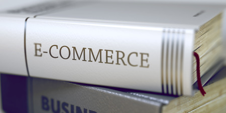 title: E-commerce Concept. Book Title. E-commerce Concept on Book Title. E-commerce - Leather-bound Book in the Stack. Closeup. E-commerce - Book Title. Blurred Image. Selective focus. 3D Illustration.