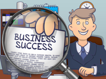 fulfillment: Business Success on Paper in Officemans Hand through Lens to Illustrate a Business Concept. Colored Doodle Style Illustration. Stock Photo