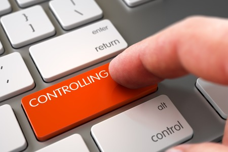minimization: Business Concept - Male Finger Pointing Controlling Button on Modernized Keyboard. Hand using Slim Aluminum Keyboard with Controlling Orange Button, Finger, Laptop. 3D Illustration.