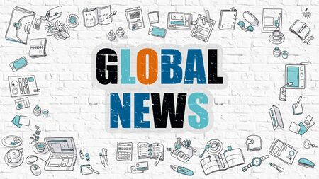 mondial: Global News. Multicolor Inscription on White Brick Wall with Doodle Icons Around. Global News Concept. Modern Style Illustration with Doodle Design Icons. Global News on White Brickwall Background. Stock Photo