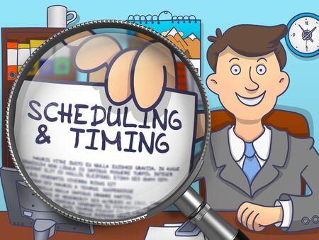 scheduling: Scheduling and Timing on Paper in Business Mans Hand through Lens to Illustrate a Time Management Concept. Multicolor Doodle Style Illustration.