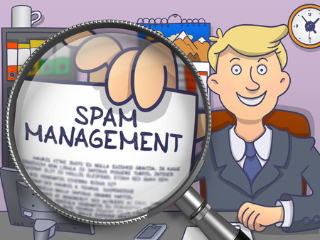 spammer: Spam Management. Handsome Businessman in Office Workplace Holding Paper with Text through Magnifying Glass. Multicolor Doodle Illustration.