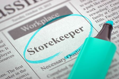 stocktaking: Newspaper with Job Vacancy Storekeeper. Storekeeper. Newspaper with the Vacancy, Circled with a Azure Marker. Blurred Image. Selective focus. Hiring Concept. 3D Render.