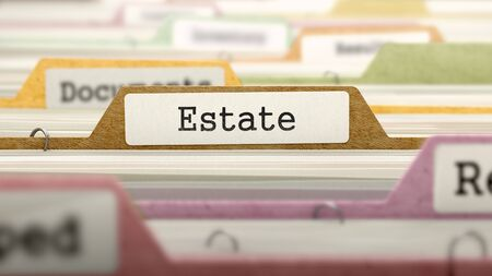 rent index: Estate on Business Folder in Multicolor Card Index. Closeup View. Blurred Image. 3D Render. Stock Photo