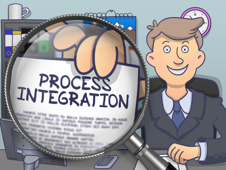 enlargement: Process Integration. Text on Paper in Businessmans Hand through Magnifying Glass. Multicolor Doodle Style Illustration.