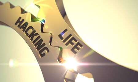 Life Hacking on the Mechanism of Golden Cog Gears. Life Hacking - Concept. Life Hacking on the Mechanism of Golden Metallic Gears with Glow Effect. 3D Render.
