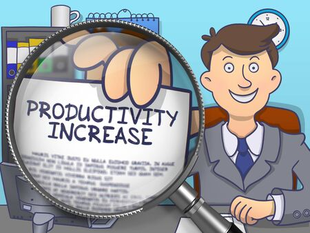 growth enhancement: Productivity Increase through Lens. Officeman Holds Out a Paper with Inscription. Closeup View. Colored Modern Line Illustration in Doodle Style.
