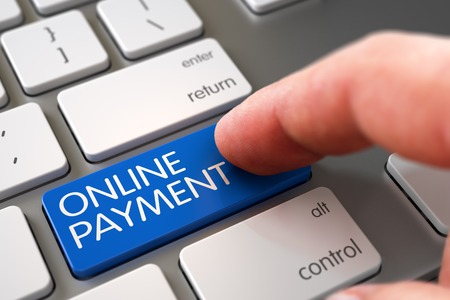 processing: Online Payment Concept - White Keyboard with Online Payment Keypad. Online Payment - Aluminum Keyboard Keypad. Hand of Young Man on Online Payment Blue Key. 3D. Stock Photo