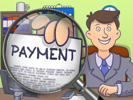 man looking out: Business Man in Suit Looking at Camera and Holds Out a Paper with Payment Concept through Magnifying Glass. Closeup View. Multicolor Doodle Illustration.