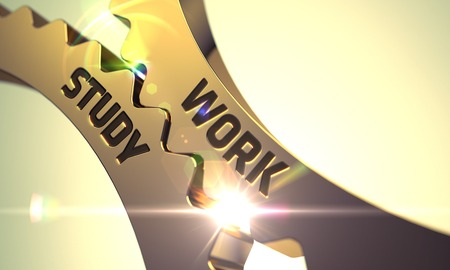 probation: Work Study on the Mechanism of Golden Metallic Gears with Lens Flare. Work Study - Illustration with Glowing Light Effect. Work Study - Technical Design. 3D.