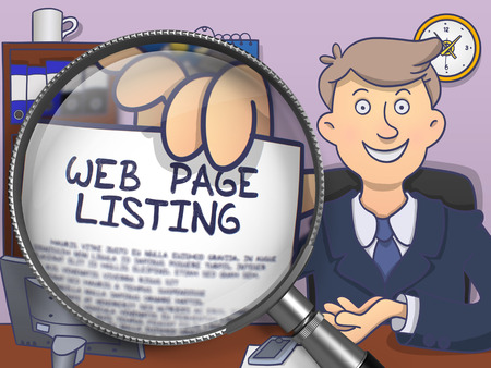 listing: Web Page Listing through Magnifying Glass. Business Man Holding a Paper with Concept. Closeup View. Colored Doodle Illustration. Stock Photo