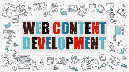 rewriting: Web Content Development - Multicolor Concept with Doodle Icons Around on White Brick Wall Background. Modern Illustration with Elements of Doodle Design Style. Stock Photo