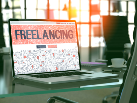 freelancing: Freelancing Concept. Closeup Landing Page on Laptop Screen in Doodle Design Style. On Background of Comfortable Working Place in Modern Office. Blurred, Toned Image. 3D Render.