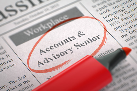 advisory: Accounts & Advisory Senior - Vacancy in Newspaper, Circled with a Red Highlighter. Blurred Image with Selective focus. Job Seeking Concept. 3D.