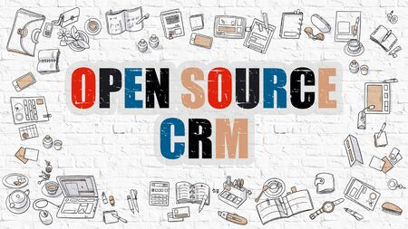 b2b: Open Source CRM Concept. Open Source CRM Drawn on White Wall. Open Source CRM in Multicolor. Doodle Design Style of Open Source CRM. White Brick Wall.
