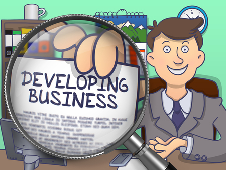 developing: Business Man in Suit Showing Paper with Developing Business Concept through Magnifier. Closeup View. Multicolor Doodle Illustration.