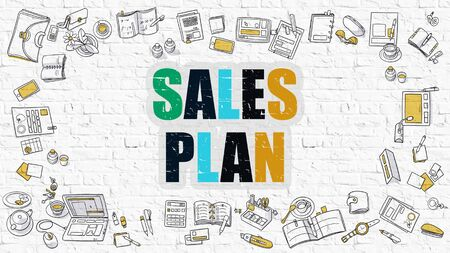 realization: Sales Plan Concept. Modern Line Style Illustration. Multicolor Sales Plan Drawn on White Brick Wall. Doodle Icons. Doodle Design Style of Sales Plan Concept. Stock Photo