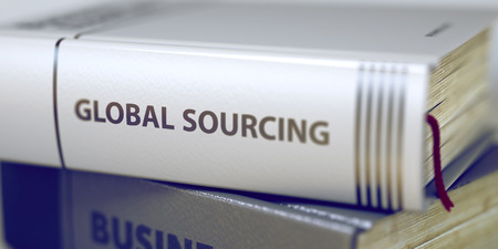 sourcing: Global Sourcing Concept. Book Title. Book Title on the Spine - Global Sourcing. Global Sourcing - Leather-bound Book in the Stack. Closeup. Blurred Image. Selective focus. 3D.