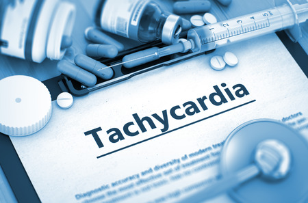 tachycardia: Tachycardia - Medical Report with Composition of Medicaments - Pills, Injections and Syringe. Tachycardia Diagnosis, Medical Concept. Composition of Medicaments. 3D Render.