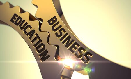 managerial: Business Education on the Mechanism of Golden Gears. Business Education - Illustration with Glow Effect and Lens Flare. Business Education - Concept. Business Education - Industrial Design. 3D.