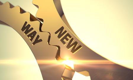 new way: New Way on Mechanism of Golden Metallic Gears with Lens Flare. New Way Golden Metallic Gears. New Way - Concept. New Way on the Golden Metallic Cogwheels. 3D. Stock Photo