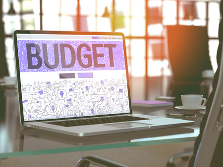 Budget Concept. Closeup Landing Page on Laptop Screen in Doodle Design Style. On Background of Comfortable Working Place in Modern Office. Blurred, Toned Image. 3D Render. Stock Photo