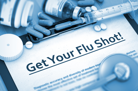 flue season: Get Your Flu Shot, Medical Concept with Pills, Injections and Syringe. Get Your Flu Shot. 3D Rendering. Stock Photo