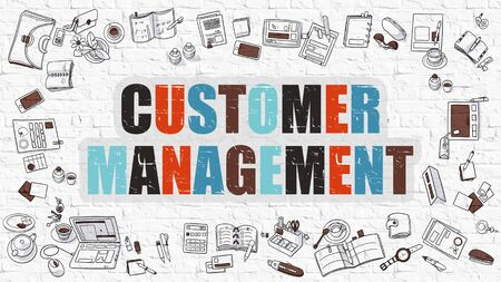 management concept: Multicolor Concept - Customer Management - on White Brick Wall with Doodle Icons Around. Modern Illustration with Doodle Design Style. Stock Photo