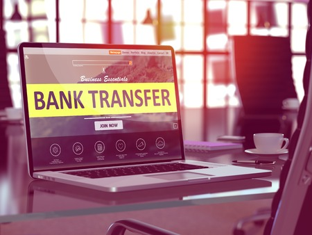 bank transfer: Bank Transfer Concept - Closeup on Laptop Screen in Modern Office Workplace. Toned Image with Selective Focus. 3d Rendering.