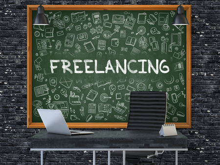 freelancing: Green Chalkboard on the Dark Brick Wall in the Interior of a Modern Office with Hand Drawn Freelancing. Business Concept with Doodle Style Elements. 3D. Stock Photo