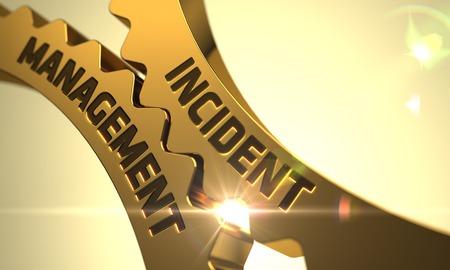 Incident Management - Industrial Illustration with Glow Effect and Lens Flare. Incident Management Golden Cogwheels. Incident Management on the Golden Cog Gears. 3D Render.