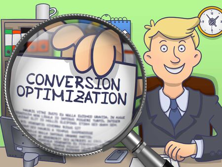 conversion: Businessman in Suit Looking at Camera and Holding a Paper with Conversion Optimization Concept through Lens. Closeup View. Colored Modern Line Illustration in Doodle Style.