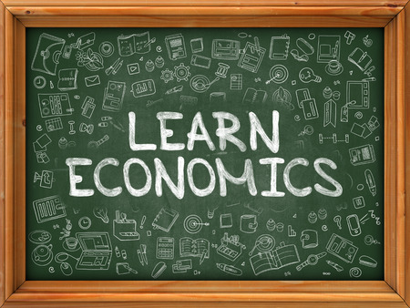 literate: Hand Drawn Learn Economics on Green Chalkboard. Hand Drawn Doodle Icons Around Chalkboard. Modern Illustration with Line Style.