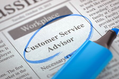 classifieds: A Newspaper Column in the Classifieds with the Small Ads of Job Search of Customer Service Advisor, Circled with a Blue Marker. Blurred Image. Selective focus. Hiring Concept. 3D Rendering. Stock Photo