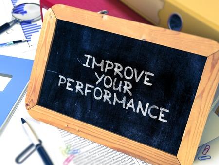 Hand Drawn Improve Your Performance Concept  on Chalkboard. Blurred Background. Toned Image. 3D Render. Banco de Imagens