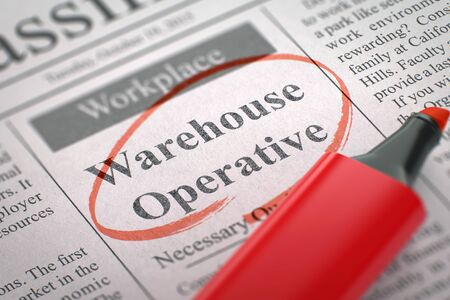 an operative: Warehouse Operative - Small Ads of Job Search in Newspaper, Circled with a Red Marker. Newspaper with Jobs Warehouse Operative. Blurred Image. Selective focus. Job Search Concept. 3D.