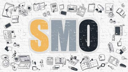 smo: SMO - Social Media Optimization - Concept. Multicolor Inscription on White Brick Wall with Doodle Icons Around. Modern Style Illustration with Doodle Design Icons. SMO on White Brickwall Background. Stock Photo