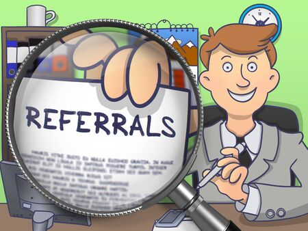 referrals: Referrals through Magnifier. Young Business Man Welcomes in Office and Holds Out Paper with Concept. Multicolor Doodle Style Illustration. Stock Photo