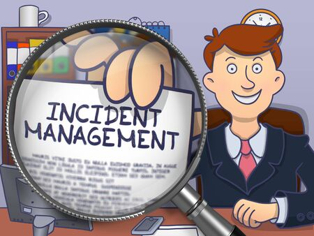 incident: Man in Suit Shows Paper with Concept Incident Management through Magnifying Glass. Closeup View. Colored Modern Line Illustration in Doodle Style.