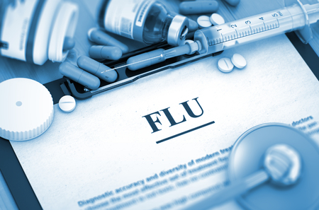 grippe: FLU - Printed Diagnosis with Blurred Text. FLU, Medical Concept with Pills, Injections and Syringe. 3D Render.