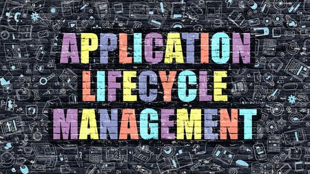 lifecycle: Application Lifecycle Management - Multicolor Concept on Dark Wall with Doodle Icons Around. Illustration with Elements of Doodle Style. Application Lifecycle Management on Dark Wall.