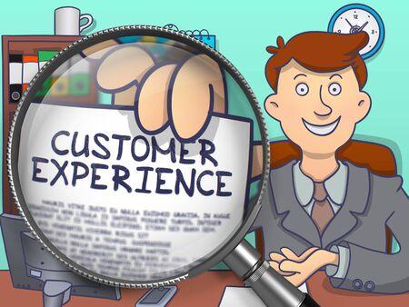 Customer Experience durch Lupe. Geschäftsmann hält ein Papier mit Inschrift. Nahaufnahme. Farbige Doodle Illustration.