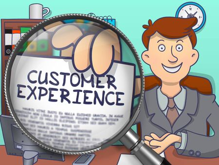 La experiencia del cliente a través de la lupa. Hombre de negocios sostiene un papel con la inscripción. Primer punto de vista. Ilustración del Doodle de color.