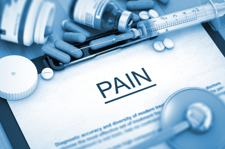 laceration: PAIN, Medical Concept with Pills, Injections and Syringe. PAIN, Medical Concept with Selective Focus. PAIN, Composition of Medicaments. 3D Render.