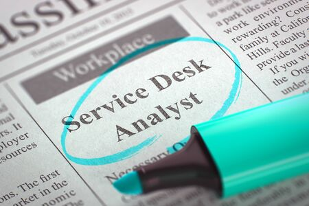 troubleshoot: Service Desk Analyst - Jobs in Newspaper, Circled with a Azure Highlighter. Blurred Image. Selective focus. Job Search Concept. 3D Render. Stock Photo