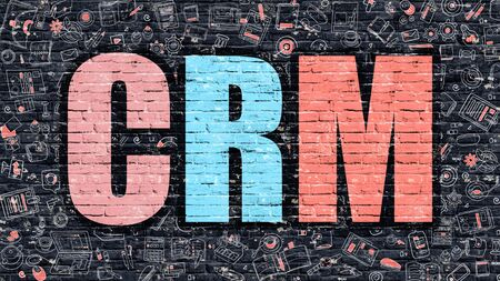 brickwall: CRM. Multicolor Inscription on Dark Brick Wall with Doodle Icons Around. CRM Concept. Modern Style Illustration with Doodle Design Icons. CRM on Dark Brickwall Background.
