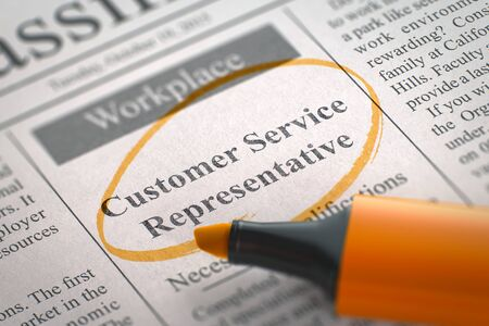 customer service representative: Customer Service Representative - Jobs in Newspaper, Circled with a Orange Marker. Blurred Image with Selective focus. Hiring Concept. 3D Rendering.