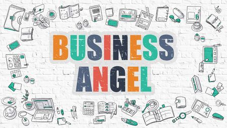 emergence: Multicolor Concept - Business Angel - on White Brick Wall with Doodle Icons Around. Modern Illustration with Doodle Design Style. Stock Photo